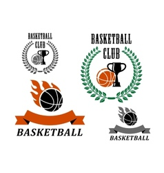 Basketball game emblems and symbols vector