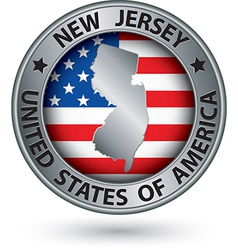New jersey state silver label with state map vector