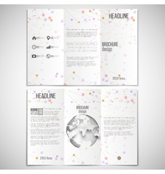 Set of tri-fold brochure design template on vector
