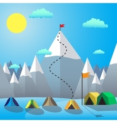 Flag on the mountain peak goal achievement flat vector
