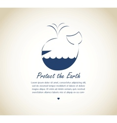 Save the earth whale on retro background vector