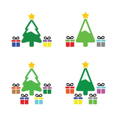 Christmas tree with present icons set vector