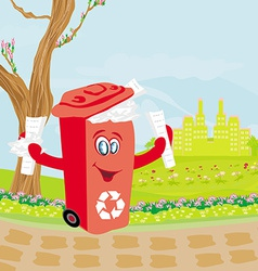 Recycling red bin with papers - character vector