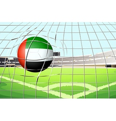 A ball hitting a goal with the united arab vector