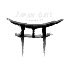 Japan gate calligraphy abstract symbol of vector