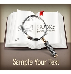 Open book and magnifying vector