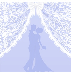 Wedding card with lace curtains and bow vector