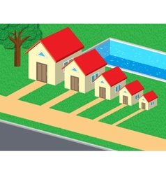 Family of cute houses vector