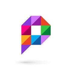 Letter p speech bubble mosaic logo icon design vector