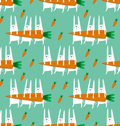 Seamless pattern with rabbits and carrots vector