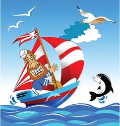 Sailor on boat vector