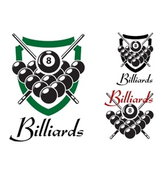 Billiards and snooker retro emblems set vector
