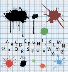 Ink blots spots and original font vector