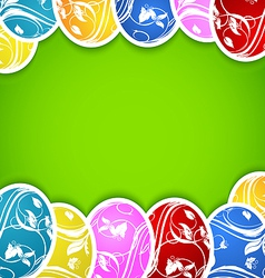Easter background with set colorful ornate eggs vector