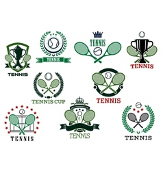 Tennis sports emblems and icons vector