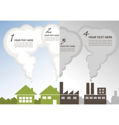 Factory pollution vs green city enviroment vector