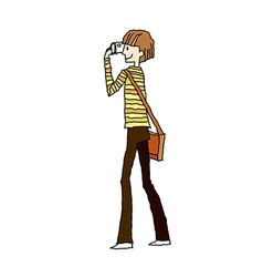 Side view of boy standing vector