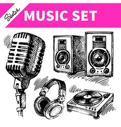 Sketch music set vector