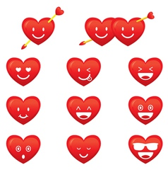 Hearts emoticon smiley vector