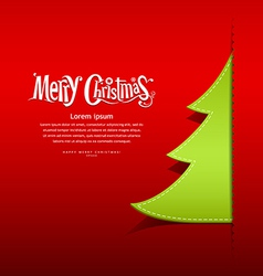 Christmas green tree paper design vector
