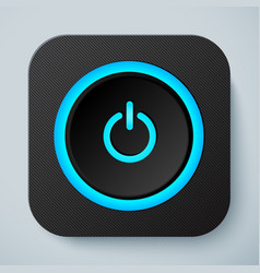 Black rounded square icon with power button vector