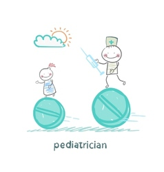 Pediatrician pediatrician runs with a syringe vector