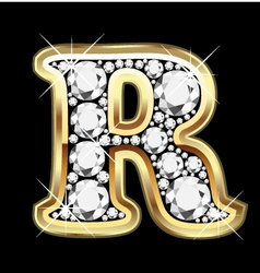 Letter r gold and diamond vector