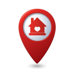 Home icon with heart icon on the red map pointer vector
