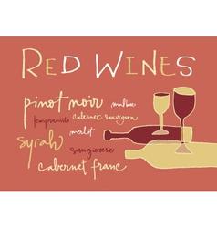 Red wines varieties vector