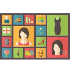 Set of flat design beauty concept icons woman vector