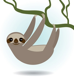 Three-toed sloth on green branch on white vector