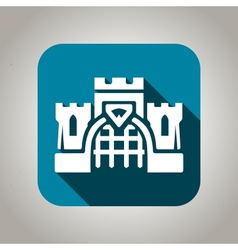Blue flat castle icon for web and mobile vector