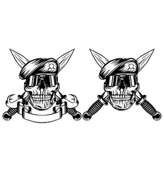 Skull in beret and daggers vector