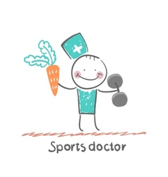 Sports doctor offers a carrot and holding vector