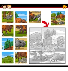 Wild animals jigsaw puzzle game vector