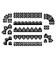 Set of lace trims vector