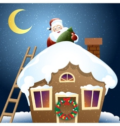 Santa claus with christmas gift on a roof vector