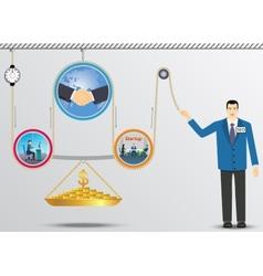 Business lifting mechanism of money vector