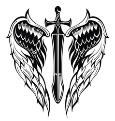 Wings and sword vector
