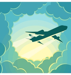 Plane flies through the clouds vector