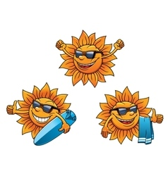 Trendy hip summer sun characters vector