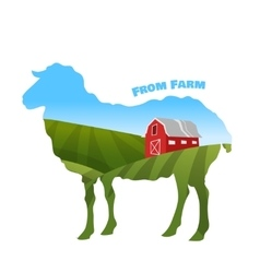 Farm landscape inside sheep silhouette concept of vector