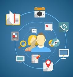 Flat design modern web media network concept vector