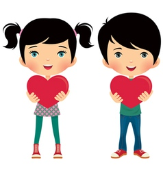 Girl and boy give valentine vector