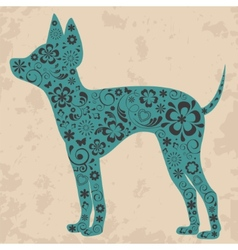Floral russian toy terrier vector