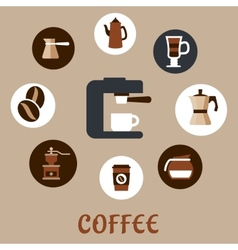 Flat coffee icons around the coffee machine vector
