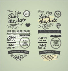 Wedding stamps green yellow vector