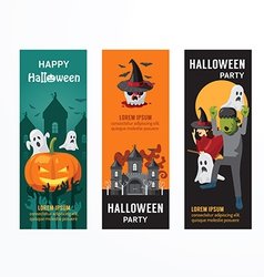 Halloween day party banner template design vector