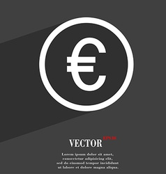 Euro icon symbol flat modern web design with long vector