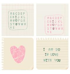 Set of hand-written love cards vector